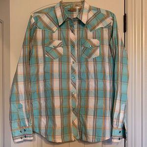 Teal plaid Ladies Large Wrangle Pearl Snap Shirt